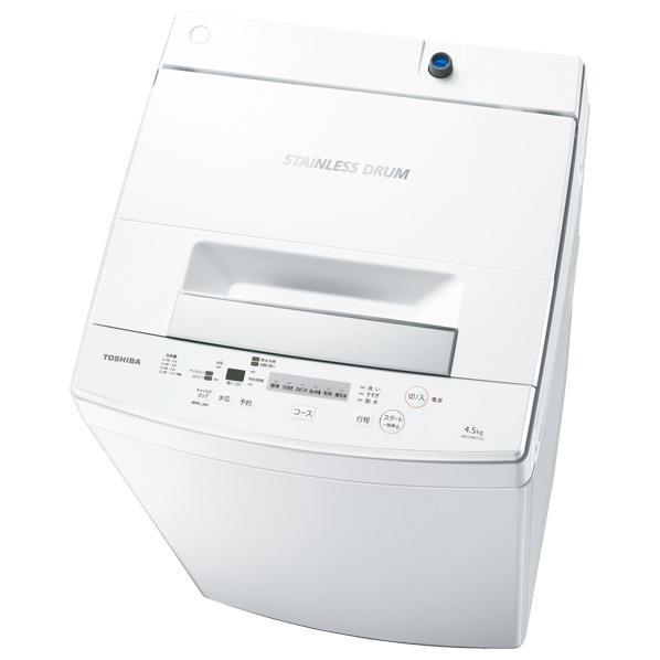 東芝 4.5kg全自動洗濯機 ピュアホワイト AW-45M7(W) [AW45M7W]【RNH】