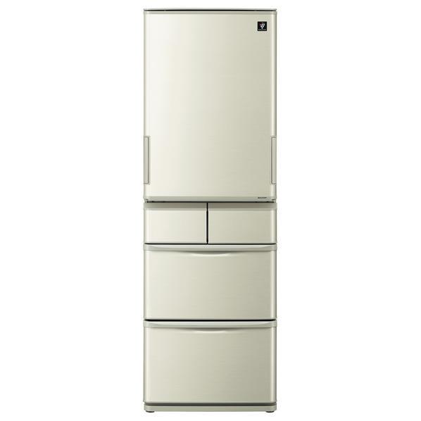 シャープ 412L 5ドアノンフロン冷蔵庫 プラズマクラスター シャンパンゴールド SJW411EN [SJW411EN]【RNH】