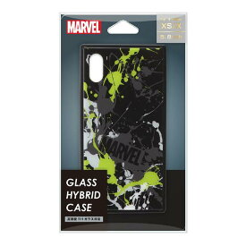 PGA iPhone XS/X用ガラスハイブリッドケース MARVEL スプラッシュロゴ/ブラック PG-DCS614BK [PGDCS614BK]