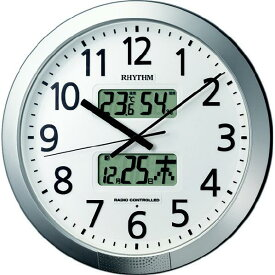 リズム時計 プログラムカレンダー404SR 電波掛時計 RHYTHM シルバーメタリック色 4FN404SR19 [4FN404SR19]【SPSP】