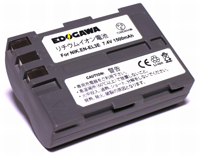 EDOGAWA NIKON ニコン EN-EL3e対応互換バッテリー D70 D70S D80 D90 D100 D200 D300 D300S D700 残量表示対応 (ED-BAT)