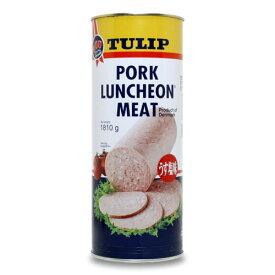 ポークランチョンミート(ポーク)TULIP チューリップ うす塩味 業務用1.81kg(1810g) 超特大サイズ! 通常缶詰の5.3缶分!1缶あたりの量で283円と激安!TULIPはスパムよりも沖縄では人気の定番ポークです! |缶詰 |