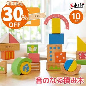 名入れ無料 木のおもちゃ 誕生日 SOUNDブロックス Large エデュテ | 1歳 男 女 おもちゃ 2歳 誕生日プレゼント 男の子 赤ちゃん 知育玩具 女の子 子供 室内 積み木 1歳半 出産祝い 木製 一歳 つみ