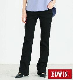 【エドウィン公式】ハタラクロ ブーツカット EDWIN LADIES エドウイン フレアー 通勤 仕事着 オフィスカジュアル ビジネスカジュアル ビジカジ ストレッチパンツ カラーパンツ ブラック 黒 レディース MEB001-75