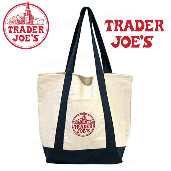 TRADER JOE'S トレーダージョーズ ロゴ刺繍 キャンバス エコバッグ ママバッグ トートバッグ メール便不可