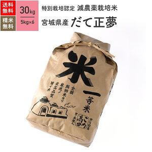 宮城県産 だて正夢 特別栽培米 令和2年産 送料無料玄米 精米 米 30kg(5kg×6袋)