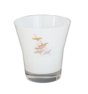 ぬりもんdeガラス フリーグラス(白)千羽鶴 001-3365(お皿 ガラス皿 硝子 漆器)