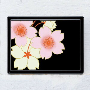 蒔絵 付箋ケース 桜花(黒)紙箱入り(付箋入れ ポストイットケース)