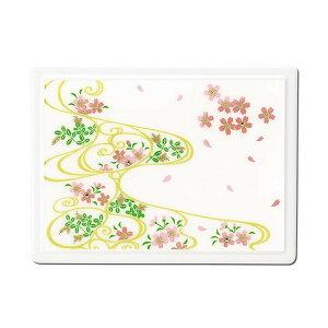蒔絵 付箋ケース「雅」 スワロフスキー桜に流水紋(白) 紙箱入り(付箋入れ ポストイットケース)