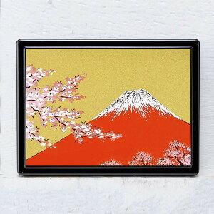 蒔絵 付箋ケース「雅」 富士に桜(金) 紙箱入り(付箋入れ ポストイットケース)