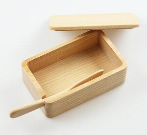 バターケース くりぬき 北欧産ブナ バターナイフ付(木製 バター入れ おしゃれ ナチュラル)