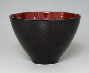 越前漆器 汁椀 うるし塗 桜散し 黒(広晴)001-3285(お椀 しるわん)