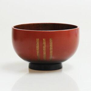 【売り切れ御免・訳あり】木製 汁椀 三つ筋 朱桃色内スリ うるし塗り YM1115