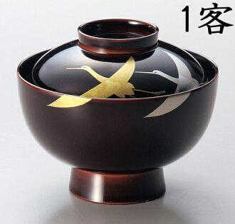 越前 shikki 年糕汤 (炖碗)-池箔起重机 Maki-e 1 客人 (木树脂、 漆器、 漆画) 901902 803604 [fs01gm] fs2gm