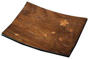 紀州漆器 12.0長角盛器(盛皿) 黒檀調さくら 21582c