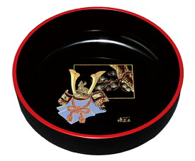 紀州漆器 7.0菓子鉢 黒 金蒔絵ほまれ兜 22582/21617