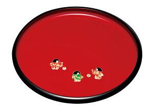 紀州漆器 10.0丸盆 朱 なかよし 22191/21196(運び盆 トレー)