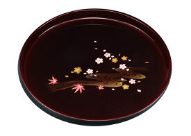 紀州漆器 8.0丸盆 溜 雅春秋 211710a(運び盆 トレー)
