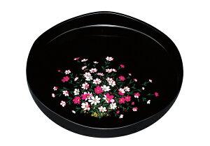 紀州漆器 10.0山道型 丸盆 コスモス(金蒔絵) 22144/21162(運び盆 トレー)