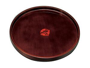 紀州漆器 10.0丸盆 溜 梅紋 211111c(運び盆 トレー)