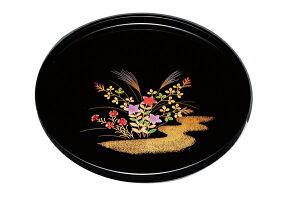 紀州漆器 10.0丸盆 黒 秋草 21115(運び盆 トレー)