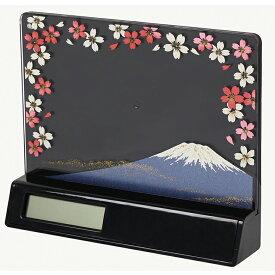 蒔絵 時計付き 写真立て「集い」 富士に桜 (紙箱入り)(フォトフレーム)