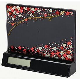 蒔絵 時計付き 写真立て「集い」 花束(黒) (紙箱入り)(フォトフレーム)
