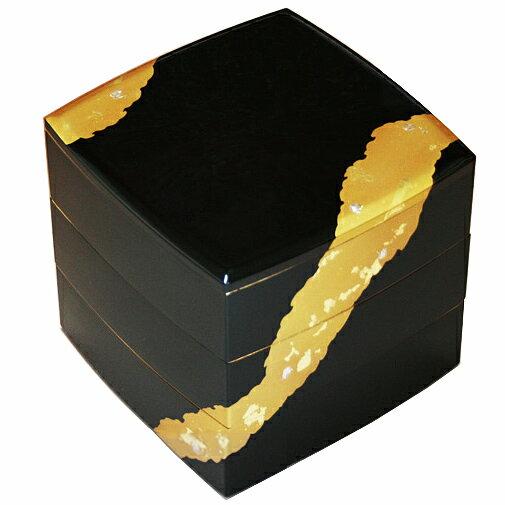 【送料無料】山中漆器 6.5寸 胴張三段重 溜塗 金雲 001-1433(漆器の重箱、日本製、国産の重箱、おしゃれ(モダン)な重箱、運動会に重箱、迎春(お正月)に重箱、お花見、行楽に重箱、ランチボックス、弁当箱、塗の重箱)祝重箱 塗重箱 重箱