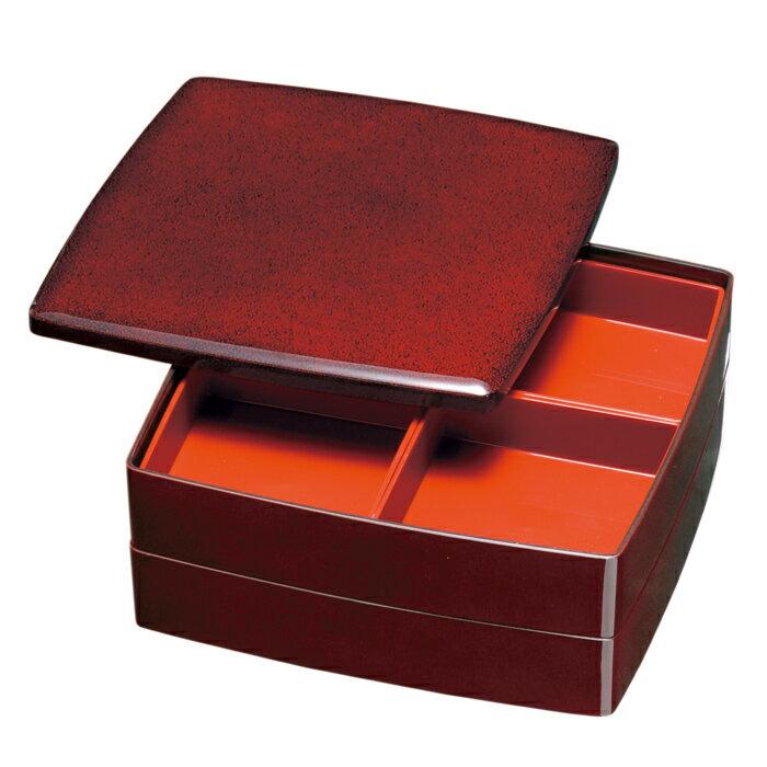 【送料無料】重箱 ななこ塗 2段オードブル重 24cm 朱塗 仕切り付 (紀州漆器の重箱、日本製、国産の重箱、おしゃれ(モダン)な重箱、運動会に重箱、迎春(お正月)に重箱、お花見、行楽に重箱、ランチボックス、弁当箱、塗の重箱)祝重箱 塗重箱 重箱