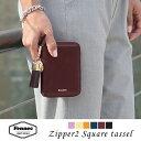 Fennec Zipper Wallet 2 Square Tassel フェネック レディース 二つ折り財布 スクウェアタッセルチャーム付き 本革レザー ミニウォレット 旅行 結婚式 ギフト 【送料