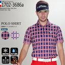 『総決算SALE特別価格!』四角柄ホリゾンタルポロシャツ efficace-homme エフィカスオム メンズゴルフウェア SALE 3L 機能素材
