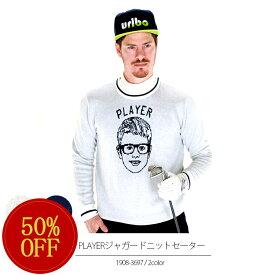 PLAYERジャガードニットセーター efficace-homme/エフィカスオム 秋冬ゴルフウェア