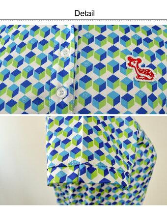 【レディースゴルフウェア】【efficace/エフィカス】キューブ柄ワンピース[インナーパンツ付](レディースゴルフウェアワンピース半袖幾何学柄高機能高ストレッチ)