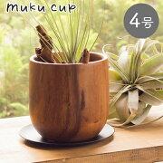 【あす楽対応】[Y'sSPACE]ムクカップ1419穴あり受け皿付き【植木鉢自然木鉢鉢カバーオシャレおしゃれフラワーポット植物観葉植物】