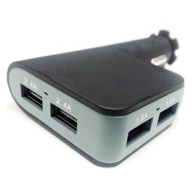 4ポート USB シガーソケット 大容量 6.8A 12V/24V対応 高速 充電器 同時充電 増設 延長