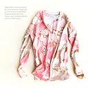 [メール便可]70%ウール30%コットン柔らかくて、肌触りバツグン◎ピンクの花柄カーディガンM/L・長袖カーディガン…