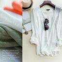 [メール便可]100%リネン春夏陽光色プルオーバー長袖Tシャツ・トップス・レディースファッション