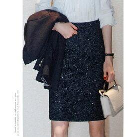 3f6adad9a7502 ラメ糸混 厚手 きれいめ タイトスカート レディース ネイビー 秋冬 ひざ丈 スカート 大きいサイズ