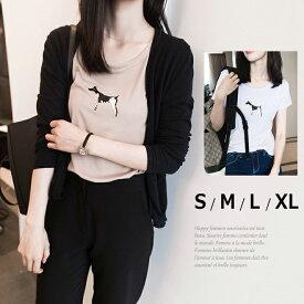 伸縮性 犬柄 半袖 Tシャツ トップス レディース 夏 白 モカブラウン 小さいサイズ 大きいサイズ S M L XL △△△
