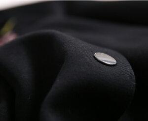 【ポイント10倍中】花柄刺繍ワッペン付滑らかで柔らかなジャージー素材ブルゾンレディース秋春アウター黒小さいサイズ大きいサイズ△△△