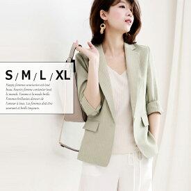 ストライプ 7分袖 テーラードジャケット レディース春 夏 ジャケット 小さいサイズ 大きいサイズ S.M.L.XL □□□