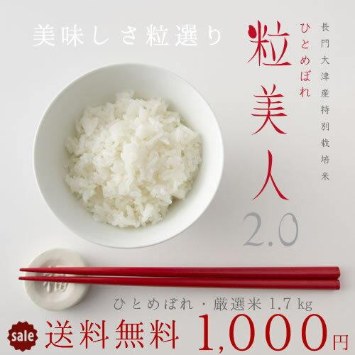 お米 お試し 送料無料 1000円ポッキリ 選べる白米・玄米!山口県産 ひとめぼれ「粒美人2.0」ポイント消化|お米|新米|米|コメ|RCP|玄米|2kg|メール便