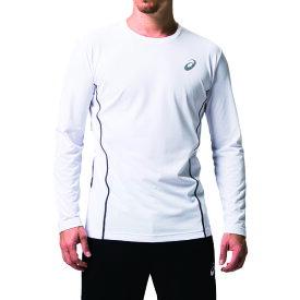アシックス ウィンジョブロングスリーブシャツ ブリリアントホワイト/ダークグレー S