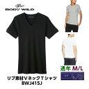BWJ415J グンゼ BODY WILD ボディーワイルド VネックTシャツ M L 綿100% リブ素材 1枚ならゆうパケット可 リブ おしゃれ ベーシック