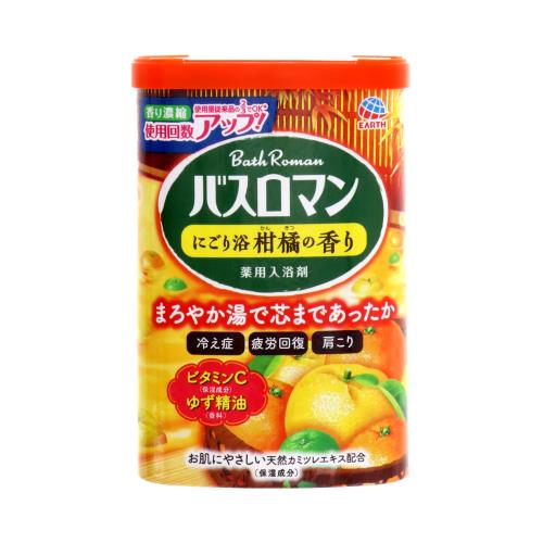 アース製薬 バスロマン にごり浴柑橘の香り 600G 入浴剤