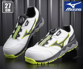 【新商品】 ミズノ 安全靴 F1GA210401 27.0cm ホワイトxブラック オールマイティ HW52L ワーキングシューズ 2021春夏