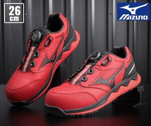 【新商品】 ミズノ 安全靴 F1GA210462 26.0cm レッドxブラック オールマイティ HW52L ワーキングシューズ 2021春夏