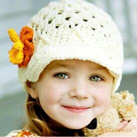 キュートなベビー 幼児 子供 ニット帽子 ニットキャップ 1点1点手作りの帽子 005 【メール便発送可】