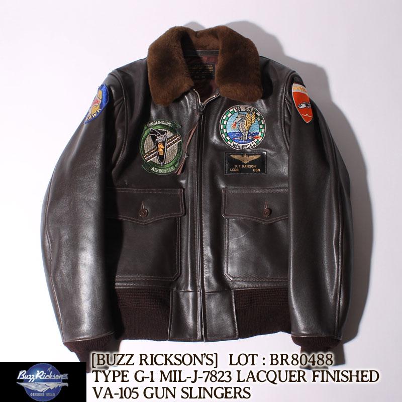 """バズリクソンズ タイプG-1 レザーフライトジャケット ラッカーフィニッシュ """"GUN SLINGERS"""" VA-105 [BR80488] Buzz Rickson's ミリタリー 革ジャン G-1 アウター 秋 冬 防寒 アメカジ メンズ"""