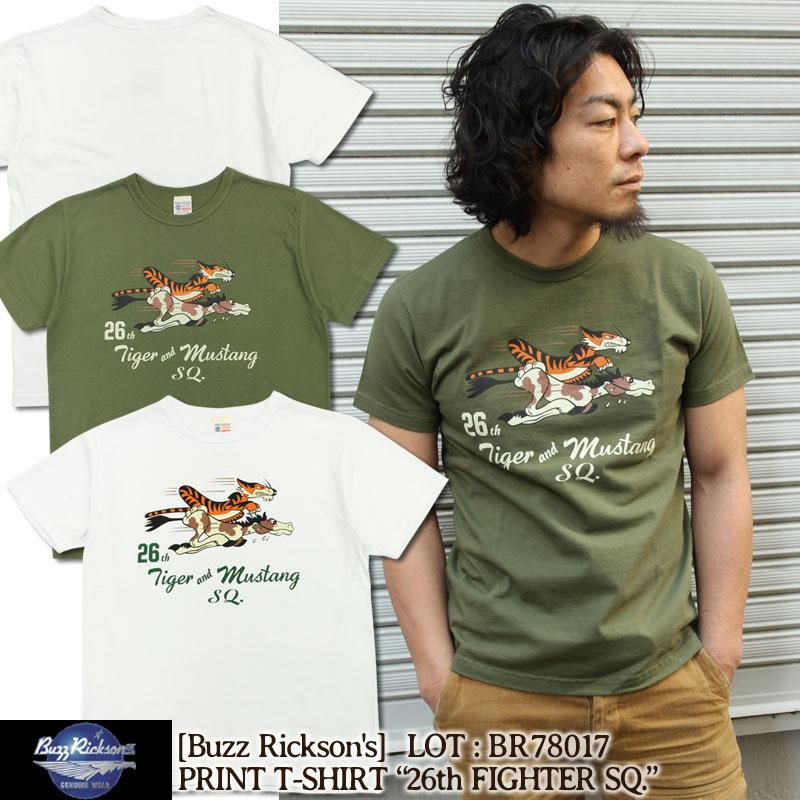 """バズリクソンズ Buzz Rickson's Tシャツ 半袖ミリタリーTシャツ [BR78017] """"26th FIGHTER SQ."""" メンズ"""